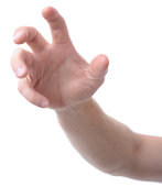 hand isolated on white gesturing grabbing or reaching