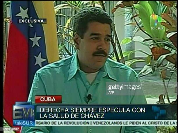 TV grab showing Venezuelan Foreign Minister and Vice president Nicolas Maduro during an interview in Havana on January 01st 2013 Maduro said the...