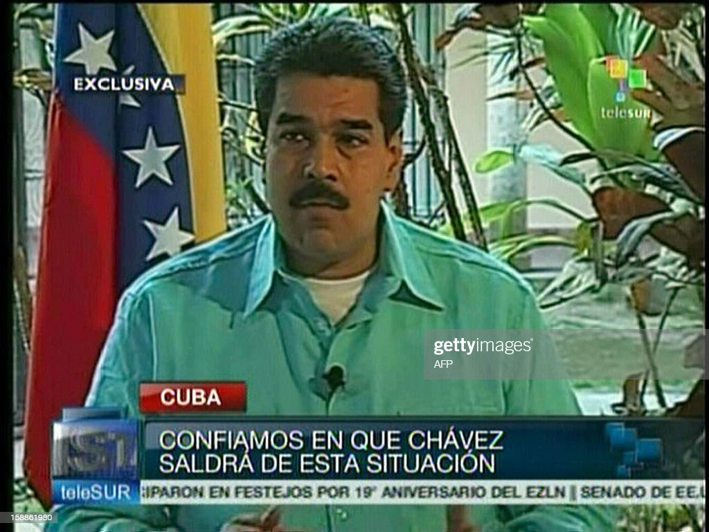 TV grab showing Venezuelan Foreign Minister and Vice president Nicolas Maduro during an interview in Havana on January 01st, 2013. We trust that President Hugo Chavez will overcome this situation, Maduro said. AFP PHOTO/TELESUR BEST QUALITY AVAILABLE