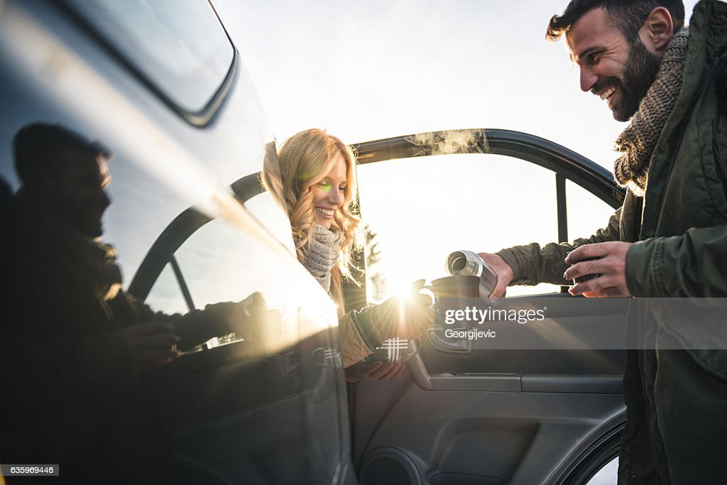 Grabbing a coffee : Stock Photo