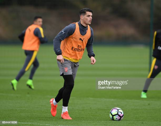 Grabit Xhaka of Arsenal during a training session at London Colney on March 17 2017 in St Albans England