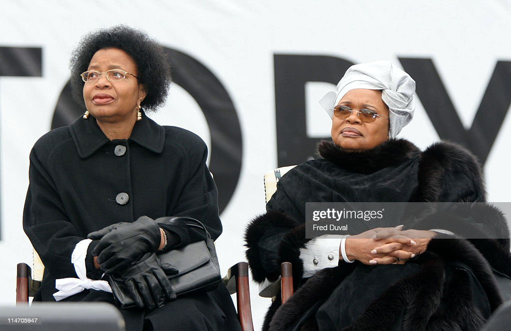 Graca Machel (left) and Guest at the Make Poverty History rally at Trafalgar Square in London. Make Poverty History is a coalition of over 220 charities, campaigns, trade unions, faith groups and celebrities.