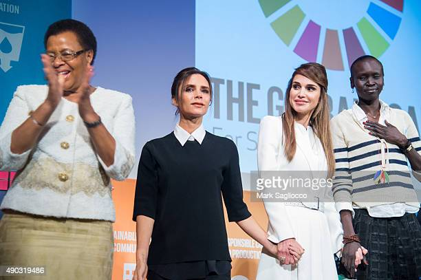Graca Machel Victoria Beckham Her Majesty Queen Rania Al Abdullah of Jordan and Alek Wek attend the Social Good Summit at the 92nd Street Y on...