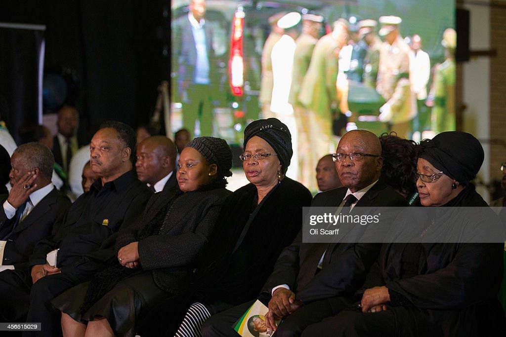 Graca Machel widow of Nelson Mandela South African President Jacob Zuma Winnie Mandela former wife of Nelson Mandela civil rights campaigner Jessie...