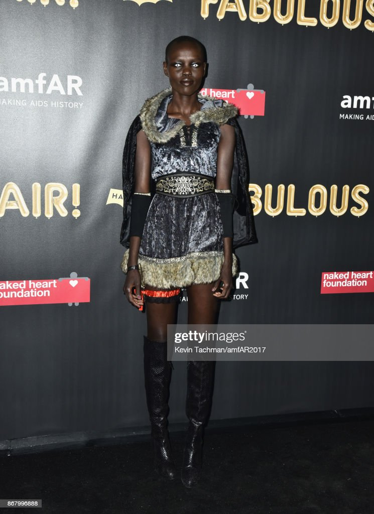Grace Bol at the 2017 amfAR & The Naked Heart Foundation Fabulous Fund Fair at the Skylight Clarkson Sq on October 28, 2017 in New York City.