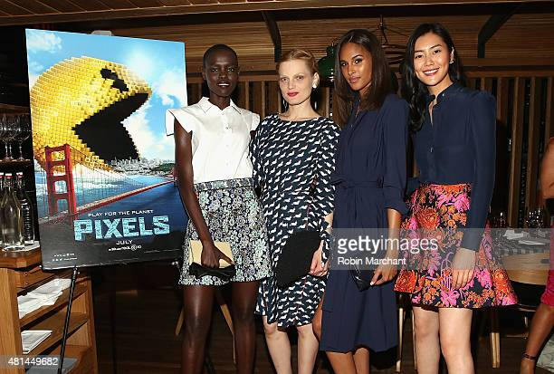 Grace Bol Guinevere Van Seenus Cindy Bruna Liu Wen attend a Dinner Honoring The Women Of 'Pixels' at Upland on July 20 2015 in New York City