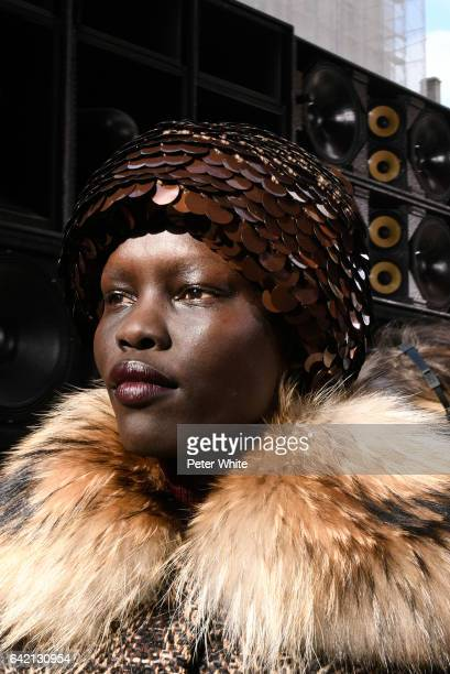 Grace Bol poses at the end of the Marc Jacobs Runway Show at Park Avenue Armory on February 16 2017 in New York City