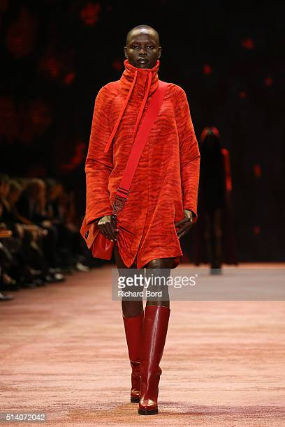 Grace Bol walks the runway during the Akris show as part of the Paris Fashion Week Womenswear Fall/Winter 2016/2017 on March 6 2016 in Paris France