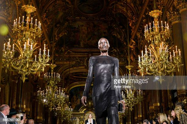 Grace Bol walks the runway during the Balmain show as part of the Paris Fashion Week Womenswear Spring/Summer 2018 on September 28 2017 in Paris...