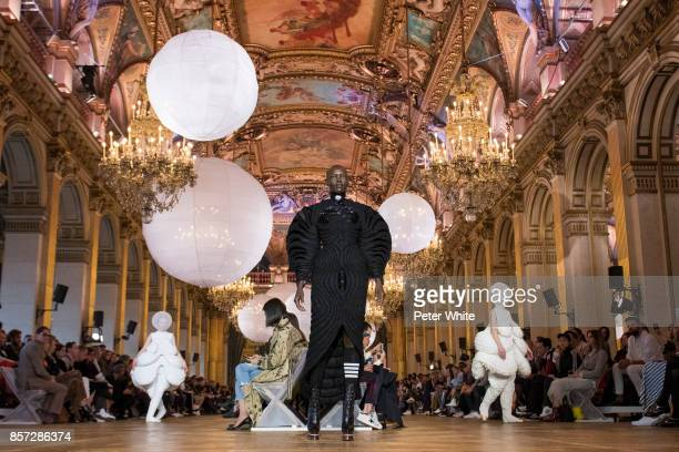 Grace Bol walks the runway during the Thom Browne fashion show as part of the Paris Fashion Week Womenswear Spring/Summer 2018 on October 3 2017 in...
