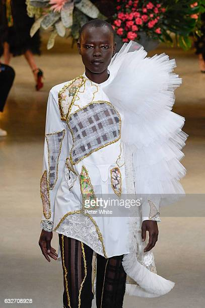 Grace Bol walks the runway during the Viktor Rolf Spring Summer 2017 show as part of Paris Fashion Week on January 25 2017 in Paris France
