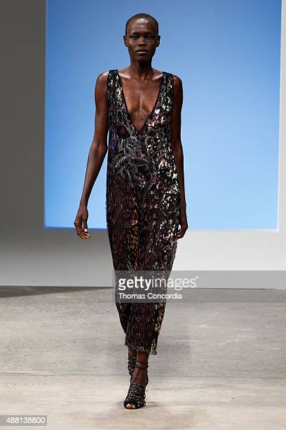 Grace Bol walks the runway wearing Thakoon Spring 2016 during New York Fashion Week at SIR Stage37 on September 13 2015 in New York City