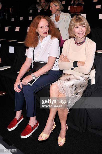Grace Coddington and Anna Wintour attend the Carolina Herrera fashion show during MercedesBenz Fashion Week Spring 2014 at The Theatre at Lincoln...
