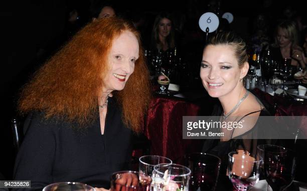 Grace Coddington and Kate Moss attend the British Fashion Awards at the Royal Courts of Justice Strand on December 9 2009 in London England