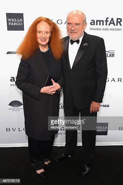 Grace Coddington and Peter Lindbergh attend the 2014 amfAR New York Gala at Cipriani Wall Street on February 5 2014 in New York City