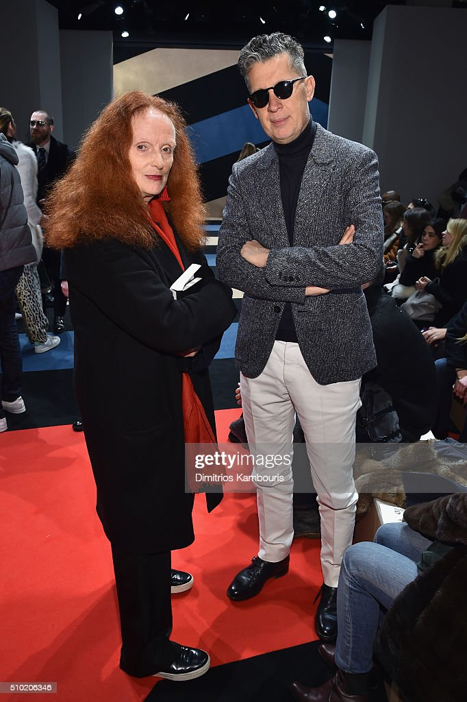 <a gi-track='captionPersonalityLinkClicked' href=/galleries/search?phrase=Grace+Coddington&family=editorial&specificpeople=1706831 ng-click='$event.stopPropagation()'>Grace Coddington</a> and photographer, <a gi-track='captionPersonalityLinkClicked' href=/galleries/search?phrase=Mario+Testino&family=editorial&specificpeople=203087 ng-click='$event.stopPropagation()'>Mario Testino</a> attend the Derek Lam Fall 2016 fashion show during New York Fashion Week: The Shows at The Gallery, Skylight at Clarkson Sq on February 14, 2016 in New York City.