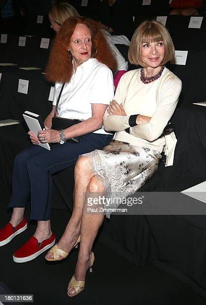 Grace Coddington and Vogue editorinchief Anna Wintour attend the Carolina Herrera show during Spring 2014 MercedesBenz Fashion Week at The Theatre at...