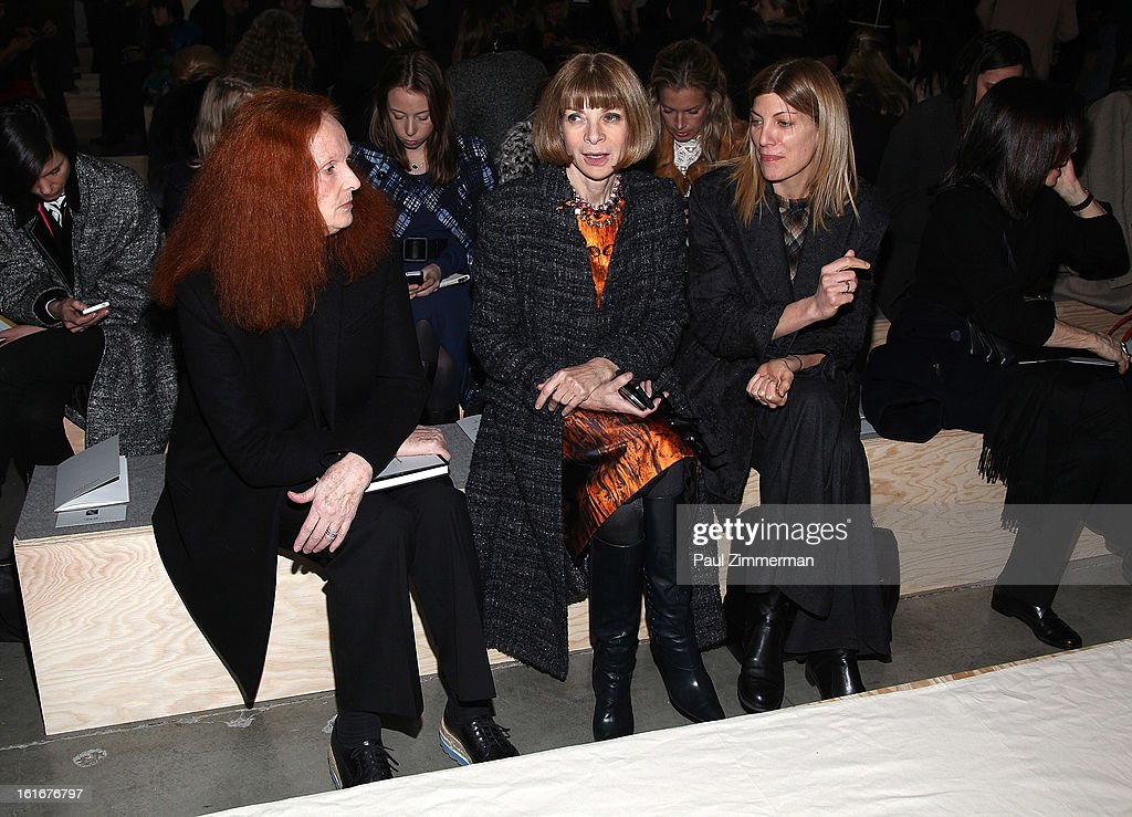 <a gi-track='captionPersonalityLinkClicked' href=/galleries/search?phrase=Grace+Coddington&family=editorial&specificpeople=1706831 ng-click='$event.stopPropagation()'>Grace Coddington</a>, <a gi-track='captionPersonalityLinkClicked' href=/galleries/search?phrase=Anna+Wintour&family=editorial&specificpeople=202210 ng-click='$event.stopPropagation()'>Anna Wintour</a> and <a gi-track='captionPersonalityLinkClicked' href=/galleries/search?phrase=Virginia+Smith&family=editorial&specificpeople=220533 ng-click='$event.stopPropagation()'>Virginia Smith</a> attend Reed Krakoff during Fall 2013 Mercedes-Benz Fashion Week on February 13, 2013 in New York City.