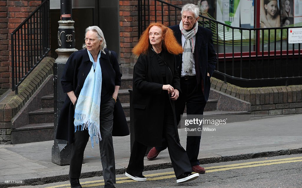 <a gi-track='captionPersonalityLinkClicked' href=/galleries/search?phrase=Grace+Coddington&family=editorial&specificpeople=1706831 ng-click='$event.stopPropagation()'>Grace Coddington</a> (C) attends a memorial service for former British Vogue Editor Beatrix Miller at St George's Church on April 28, 2014 in London, England. She died aged 90 in February 2014 was the editor of British Vogue from 1964 to 1986.