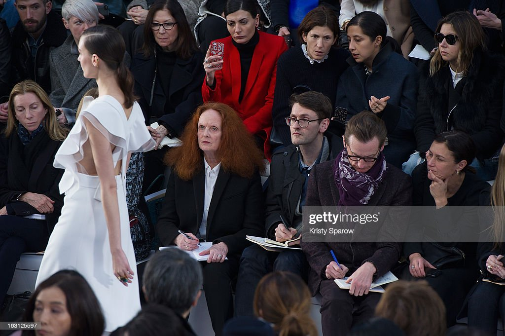 <a gi-track='captionPersonalityLinkClicked' href=/galleries/search?phrase=Grace+Coddington&family=editorial&specificpeople=1706831 ng-click='$event.stopPropagation()'>Grace Coddington</a> (C) is seen in the front row during the Chloe Fall/Winter 2013/14 Ready-to-Wear show as part of Paris Fashion Week on March 3, 2013 in Paris, France.