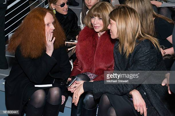 Grace Coddington Vogue Editorinchief Anaa Wintour and Virginia Smith attend Vera Wang during fall 2013 MercedesBenz Fashion Week at The Stage at...