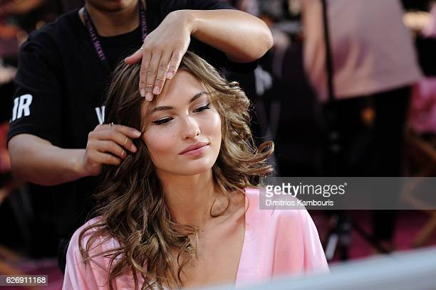 Grace Elizabeth has her Hair Makeup done prior the 2016 Victoria's Secret Fashion Show on November 30 2016 in Paris France