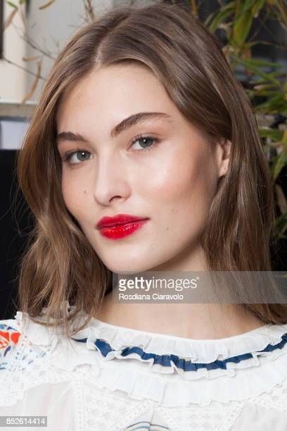 Grace Elizabeth is seen ahead of the Philosophy By Lorenzo Serafini show during Milan Fashion Week Spring/Summer 2018 on September 23 2017 in Milan...