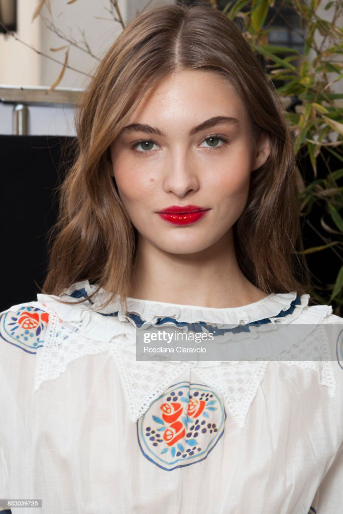Grace Elizabeth is seen backstage ahead of the Philosophy By Lorenzo Serafini show during Milan Fashion Week Spring/Summer 2018 on September 23, 2017 in Milan, Italy.