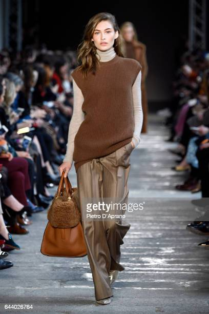 Grace Elizabeth walks the runway at the Max Mara show during Milan Fashion Week Fall/Winter 2017/18 on February 23 2017 in Milan Italy