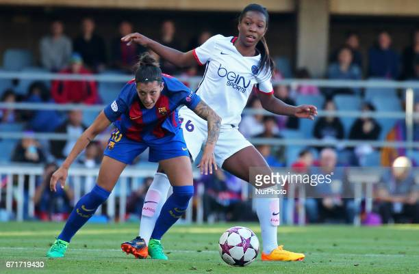 Grace Geyoro and Jennifer Hermoso during Womens UEFA Champions League match between FC Barcelona v PSG in Barcelona on April 22 2017
