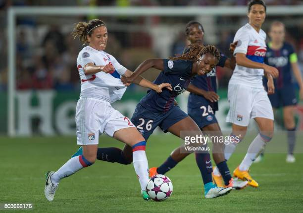 Grace Geyoro of Paris St Germain and Camille Abily of Olympique Lyonnais in action during the UEFA Women's Champions League Final between Olympique...