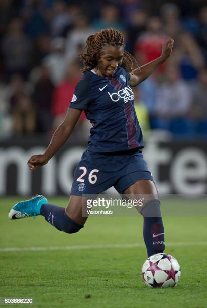 Grace Geyoro of Paris St Germain takes a penalty during the shoot out of the UEFA Women's Champions League Final between Olympique Lyonnais and Paris...