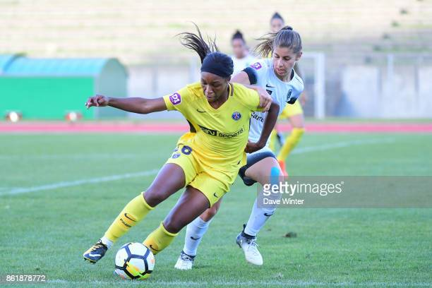 Grace Geyoro of PSG and Camille Catala of Paris FC during the women's Division 1 match between Paris FC and Paris Saint Germain on October 15 2017 in...