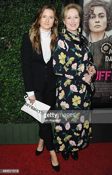 Grace Gummer and mom Meryl Streep arrive at the Los Angeles Premiere Of Focus Features' 'Suffragette' at Samuel Goldwyn Theater on October 20 2015 in...