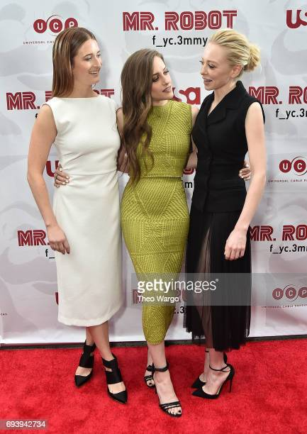 Grace Gummer Carly Chaikin and Portia Doubleday attend a 'Mr Robot' FYC Screening at The Metrograph on June 8 2017 in New York City