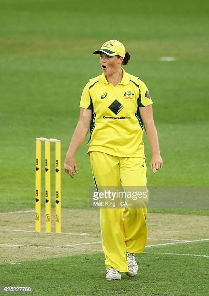 Grace Harris of Australia celebrates taking the wicket of Dinesha Devnarain of South Africa during the women's One Day International match between...