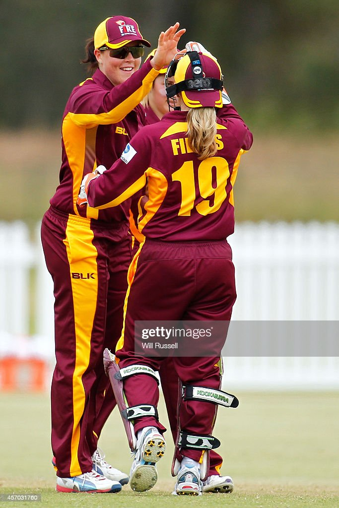 Grace Harris of The Queensland Fire celebrates after bowling out Melissa Holmes of The Western Fury during the WNCL match between Western Australia...