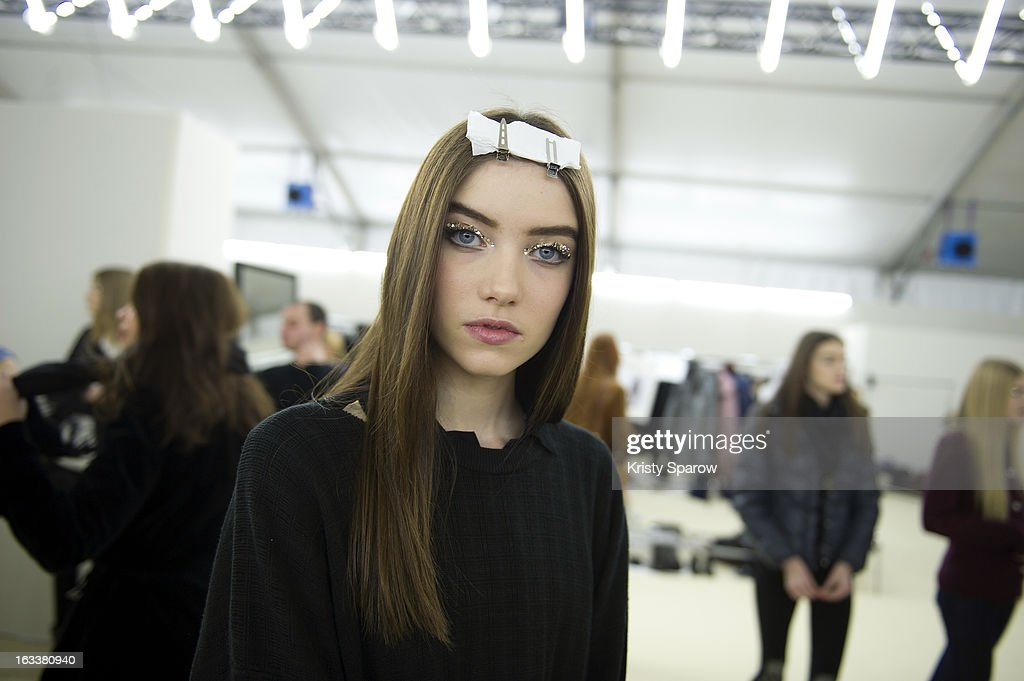 Grace Hartzel poses backstage before the Chanel Fall/Winter 2013/14 Ready-to-Wear show as part of Paris Fashion Week at Grand Palais on March 5, 2013 in Paris, France.