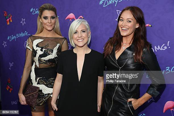 Grace Helbig Hannah Hart and Mamrie Hart attend the premiere of Lionsgate's 'Dirty 30' at ArcLight Hollywood on September 20 2016 in Hollywood...