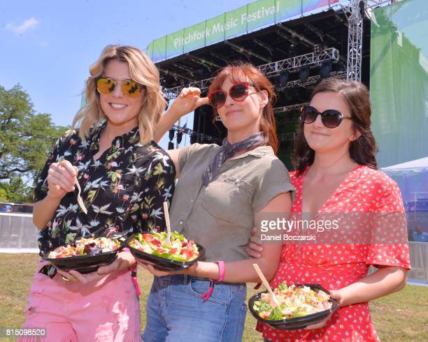 Grace Helbig Mamrie Hart and Joselyn Hughes freshen up at Wendy's ReFresh Tent during Pitchfork Music Festival on July 15 2017 in Chicago Illinois