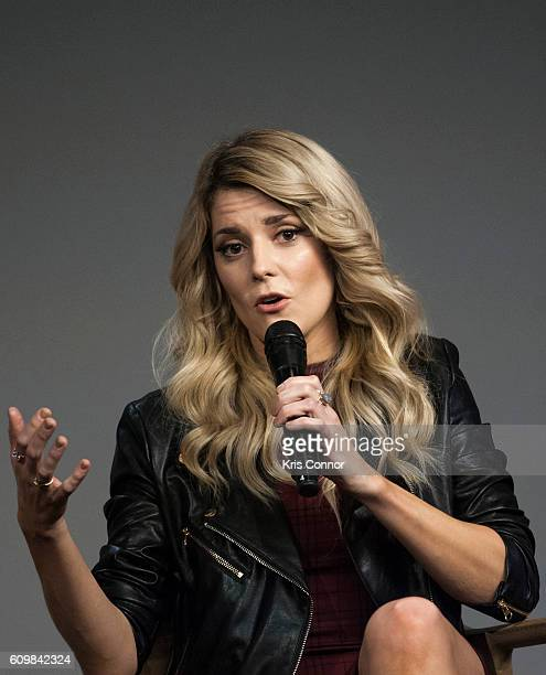Grace Helbig part of 'YouTube's holy trinity' speaks during a moderated discussion and QA about 'Dirty 30' at Apple SoHo on September 22 2016 in New...