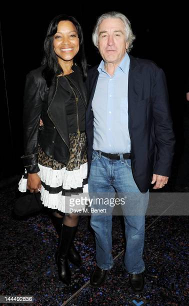 Grace Hightower and producer Robert De Niro celebrate backstage after the We Will Rock You 10 Year Anniversary performance at The Dominion Theatre on...