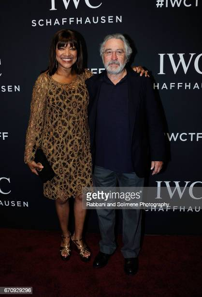 Grace Hightower and Robert De Niro attend 2017 IWC Schaffhausen 'For The Love Of Cinema' Gala Dinner at Spring Studios on April 20 2017 in New York...