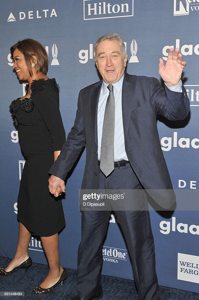Grace Hightower (L) and Robert De Niro attend at The 27th Annual GLAAD Media Awards with Hilton at Waldorf Astoria Hotel on May 14, 2016 in New York City.