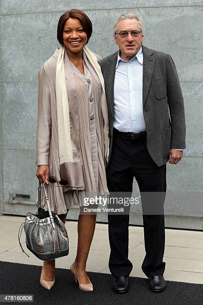 Grace Hightower and Robert De Niro attend the Giorgio Armani show during the Milan Men's Fashion Week Spring/Summer 2016 on June 23 2015 in Milan...