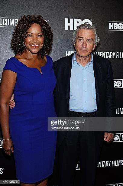 Grace Hightower and Robert De Niro attend the premiere of 'Remembering the Artist Robert De Niro Sr' at The Museum of Modern Art on June 5 2014 in...