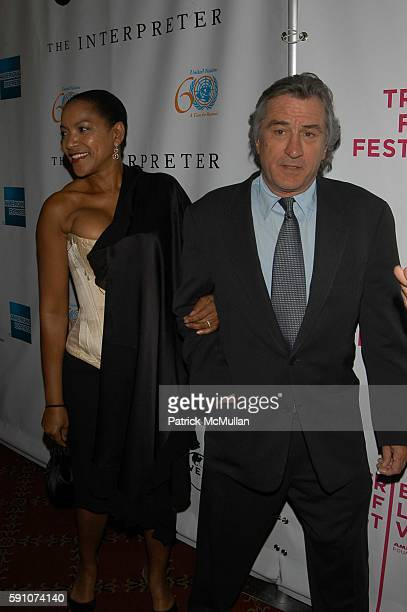 Grace Hightower and Robert DeNiro attend The Interpreter screening Arrivals and AfterParty at Ziegfeld Theater and MOMA on April 19 2005 in New York...