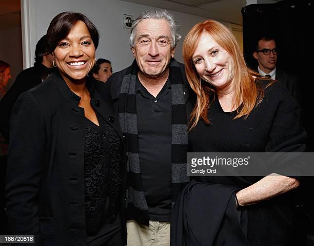 Grace Hightower Robert De Niro and Patti Scialfa visit backstage following Rita Wilson's performance at 54 Below on April 15 2013 in New York City