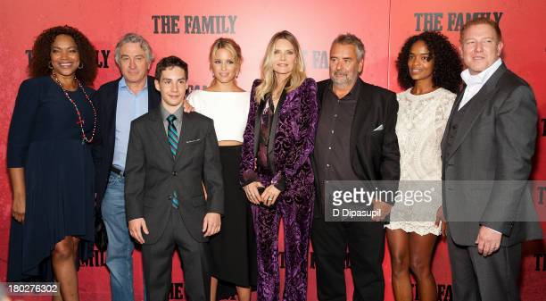 Grace Hightower Robert De Niro John D'Leo Dianna Agron Michelle Pfeiffer Luc Besson and Ryan Kavanaugh attend 'The Family' World Premiere at AMC...