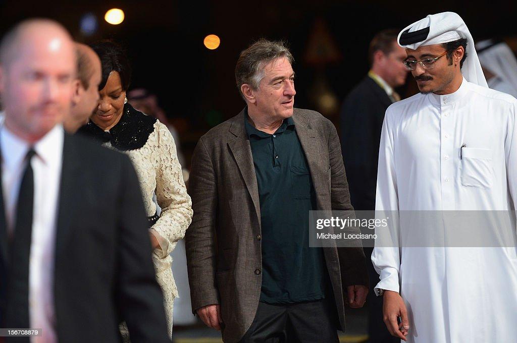 Grace Hightower, Tribeca Film Festival co-founder Robert De Niro and Doha Film Institute CEO Abdulaziz Bin Khalid Al-Khater attend the 'Silver Linings Playbook' premiere at the Al Mirqab Hotel during the 2012 Doha Tribeca Film Festival on November 19, 2012 in Doha, Qatar.